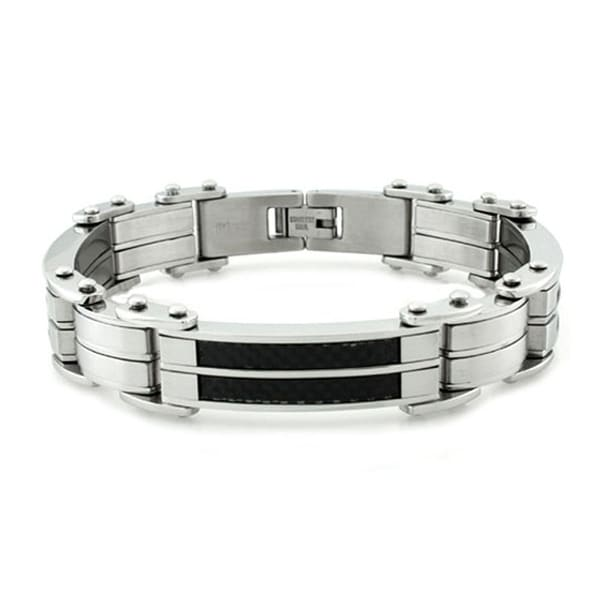 Stainless Steel Black Carbon Fiber Inlay Link Bracelet - 8.5 inches