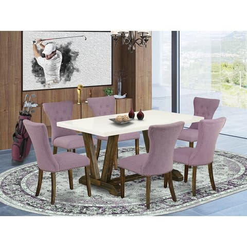 Dinette Set Includes Dining Table and 4 Upholstered Dining Chairs with Button Tufted Chair Back (Number of Chairs Option)
