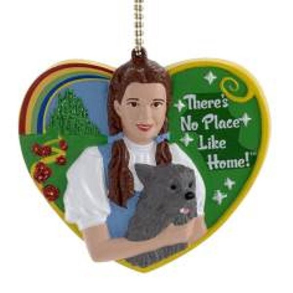 "3"" Wizard of Oz Dorothy and Toto ""There's No Place Like Home"" Clip-On Christmas Ornament - green"