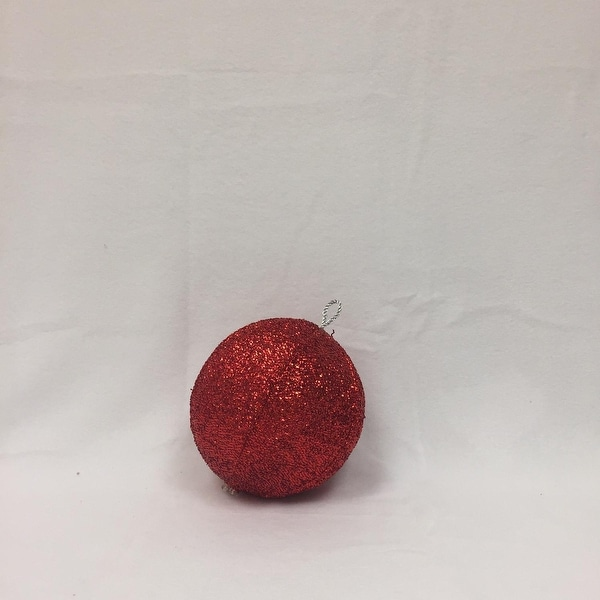 """8"""" Sparkly red Inflatable Tinsel Ball Commercial Christmas Ornament"""