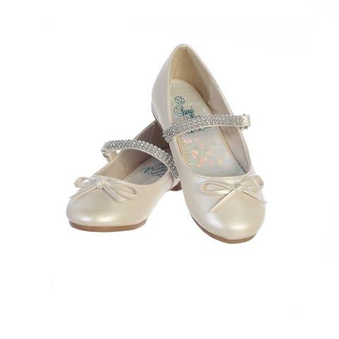 Girls Ivory PU Rhinestone Strap Summer Dress Shoes