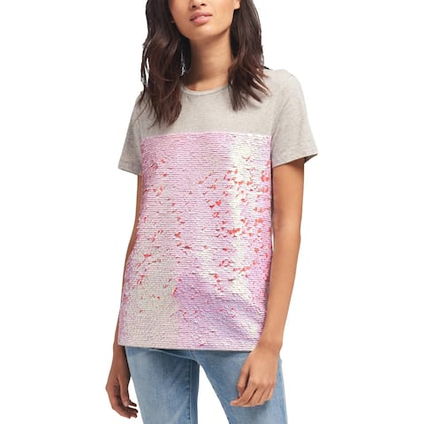 DKNY Womens T-Shirt Sequined Short Sleeves