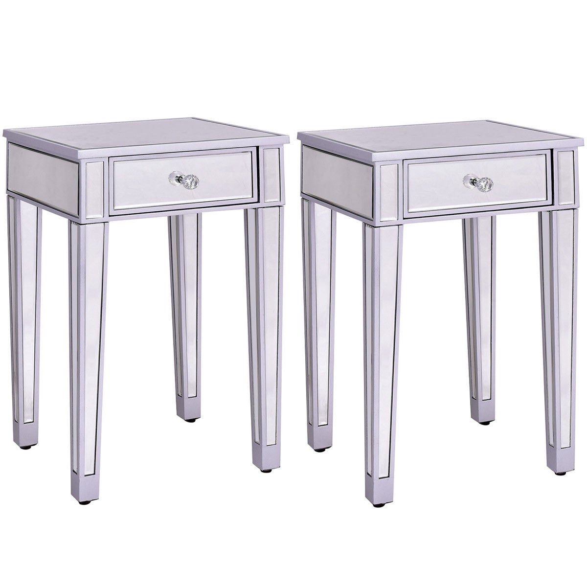 Costway 2 Pcs Mirrored Accent Table Nightstand End Table Storage Cabinet Drawer Sliver