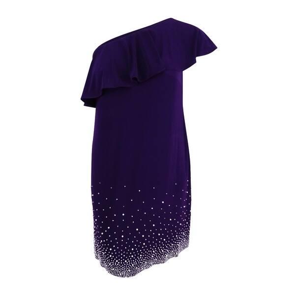 Shop MSK Women\'s Plus Size Beaded One-Shoulder Shift Dress ...