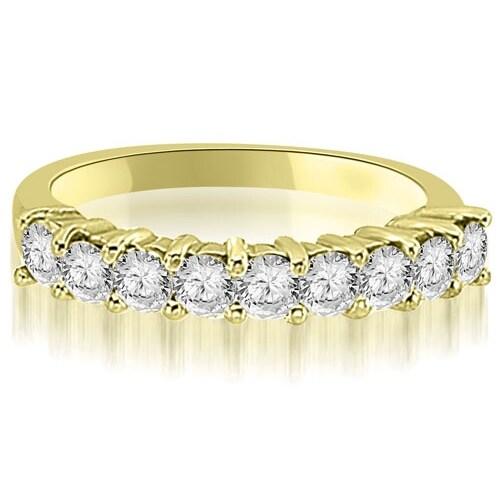 0.60 cttw. 14K Yellow Gold Round Diamond 9-Stone Prong Wedding Band
