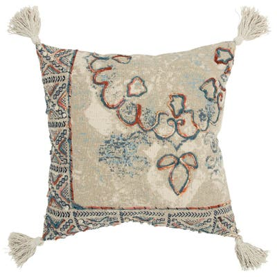 """Rizzy Home Medallion Natural 20"""" x 20"""" Decorative Pillow"""
