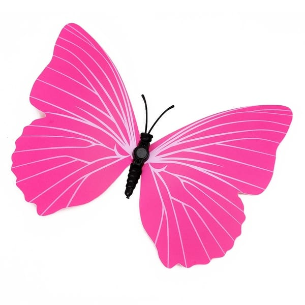 Diy 3d Fuchsia Butterfly Magnet Wall Stickers Mural Decal Room Wall Decor Set 4 7 X 3 7 L W Overstock 28888150