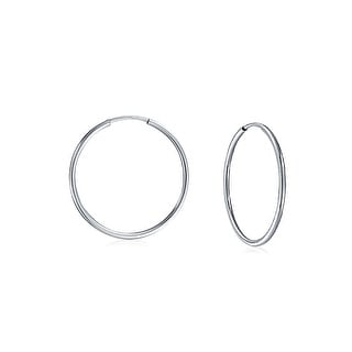 Bling Jewelry Sterling Silver Thin Continuous Endless Hoop Earrings 0.5in
