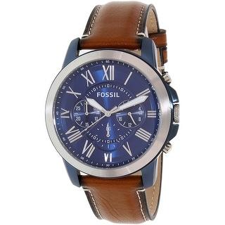Shop Fossil Men S Grant Brown Leather Quartz Dress Watch