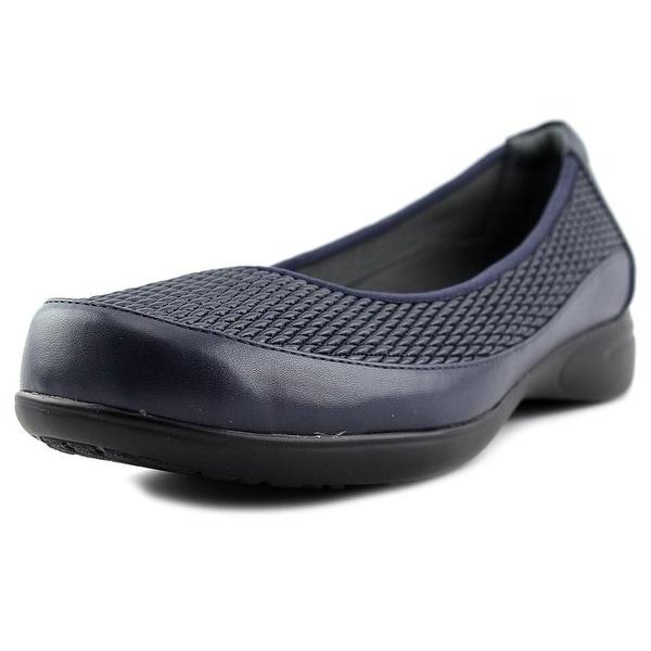 FootSmart Karen Women WW Round Toe Leather Blue Loafer