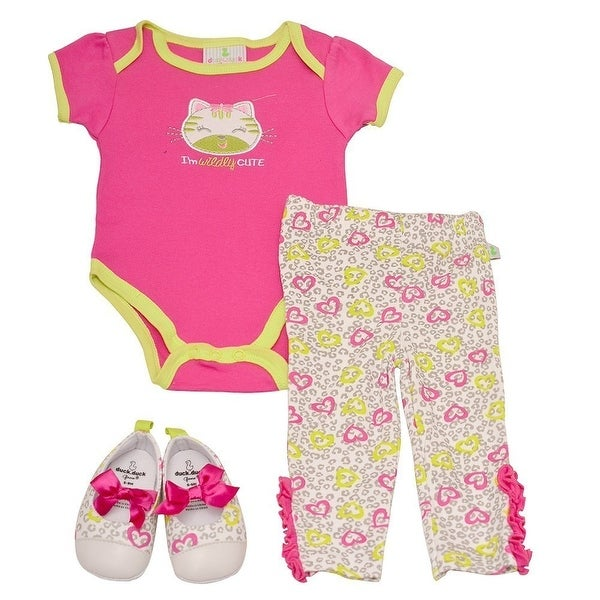 Duck Duck Goose Baby Girls Fuchsia Cat Bodysuit Soft Sole Shoes Pants Set