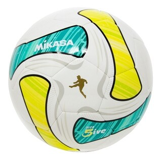Mikasa SWA Series Size 5 Soccer Ball, White/Green/Teal