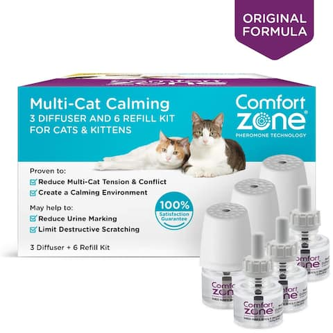Comfort Zone Cat Multicat Diffuser Kit - 3 diffuser and 6 refills