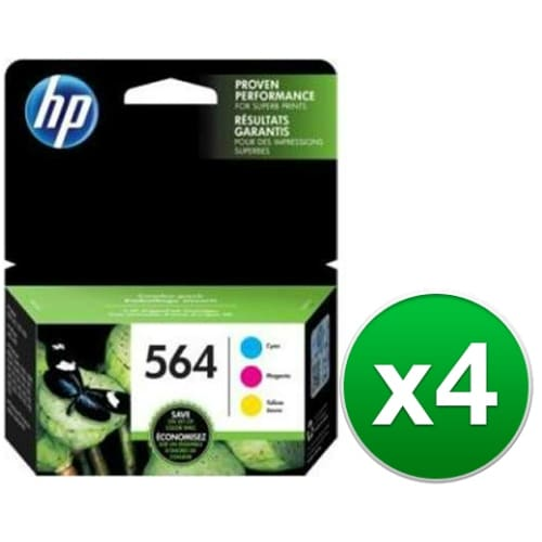 HP 564 Multi Color Original 3 Ink Cartridges (N9H57FN)(4-Pack)