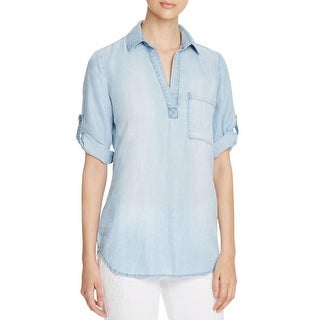 Side Stitch Womens Casual Top Tencel V-Neck