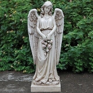 """36"""" Outdoor Stone Angel Holding Rose Wreath"""