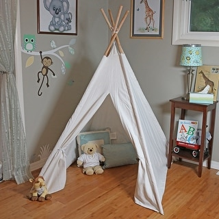 Sunnydaze Large Canvas Kids Teepee Play Tent with Carrying Case, 4-Pole Style, 5-Foot Tall