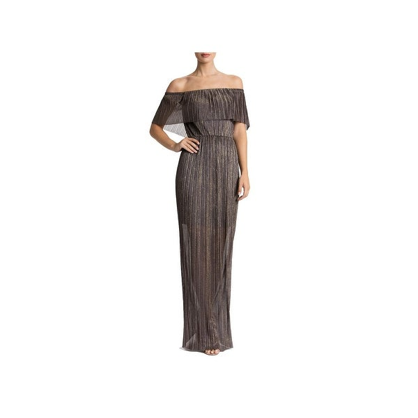 c0d2b10d1d16 Dress The Population Womens Evening Dress Metallic Off-The-Shoulder - L