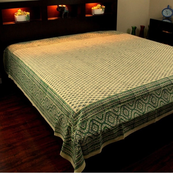 Block Print Tapestry Wall Hanging Cotton Floral Tablecloth Bedspread Coverlet Beach Sheet Dorm Decor Green Twin Full