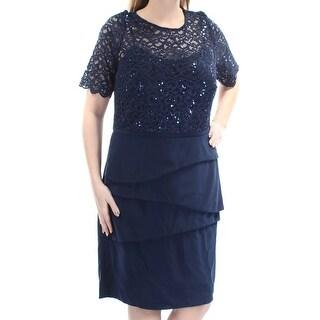 Womens Navy Short Sleeve Below The Knee Layered Evening Dress Size: 14W