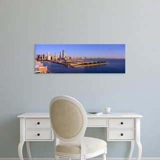 Easy Art Prints Panoramic Images's 'Chicago Skyline, Filtration Plant, Illinois' Premium Canvas Art