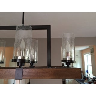 The Gray Barn Vineyard Metal and Wood 6-light Chandelier with Seeded Glass Shades