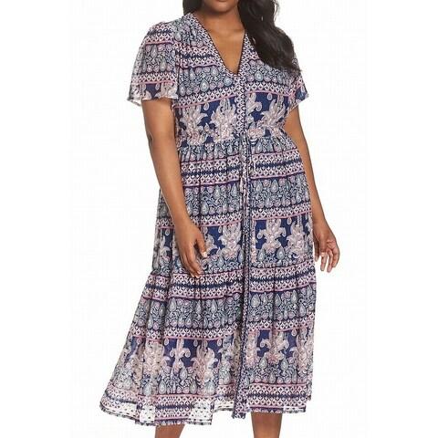 Eliza J Blue Women's Size 16W Plus Flutter Sleeve Maxi Dress