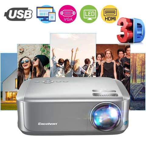 Excelvan BL68 Home Theater Projector Supports Red-blue 3D 1080P Videos HDMI VGA USB Interfaces