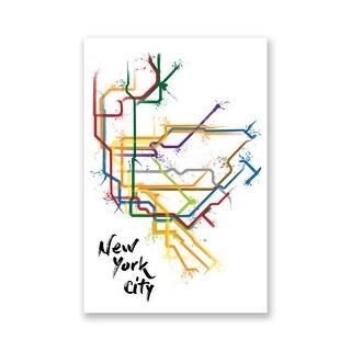 New York Splatter Train Maps Matte Poster 16x24