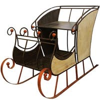 """69"""" Large Christmas Winter Forest Charcoal Black and Bronze Sleigh"""