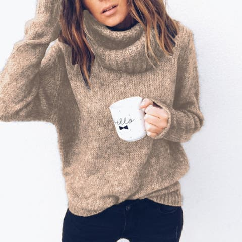 Solid Color Long Sleeve Pullover Sweater