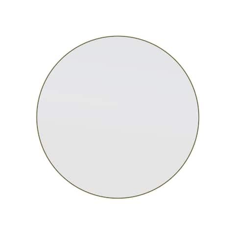 "Glass Warehouse Round 24"" Stainless Steel Framed Mirror"