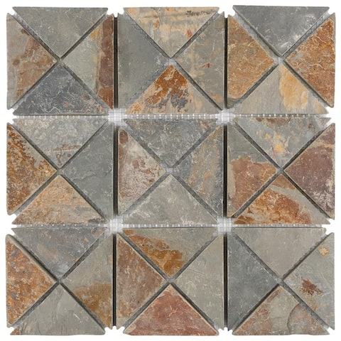 "SomerTile Crag TriSquare Sunset Slate 12"" x 12"" x 10 mm Natural Stone Mosaic Tile (5 tiles/5.11 sqft.)"