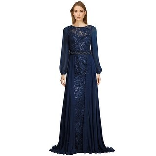 Teri Jon Lace & Chiffon Beaded Long Sleeve Evening Gown Dress