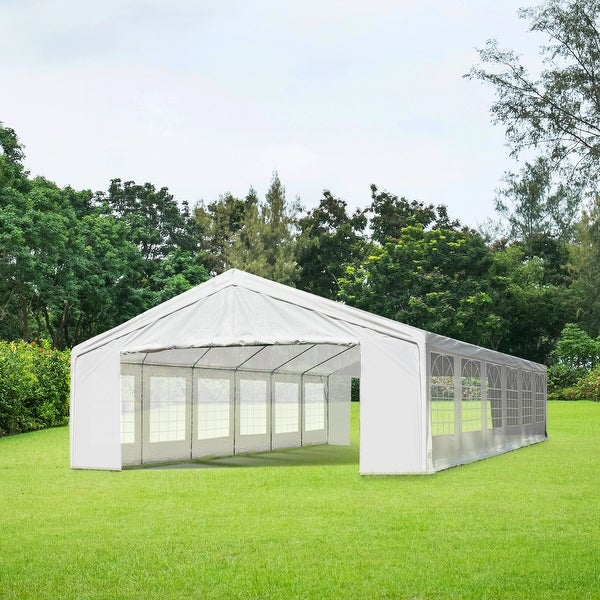 Outsunny White Water-resistant Fabric Heavy-duty Event Tent/Awning. Opens flyout.