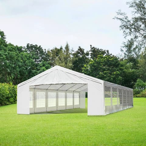 Outsunny White Water-resistant Fabric Heavy-duty Event Tent/Awning