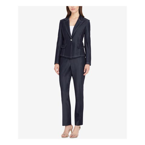 TAHARI Womenst Navy One Button Blazer Wear To Work Jacket Petites Size: 10