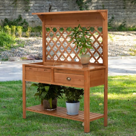"""Outsunny 47.25"""" x 16.5"""" Wooden Garden Potting Table with Draining Potting Area, Upper/Lower Shelf Space & Storage Drawer"""