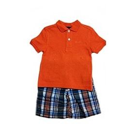 Izod Little Boys' Short Polo Set 2-piece Set (4, Orange) - Multicolored