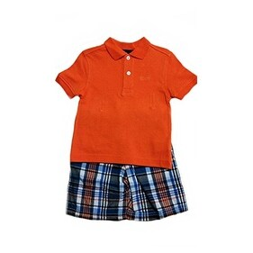 Izod Little Boys' Short Polo Set 2-piece Set (4, Orange) - Multicolored