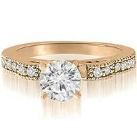0.65 cttw. 14K Rose Gold Antique Milgrain Round Cut Diamond Engagement Ring
