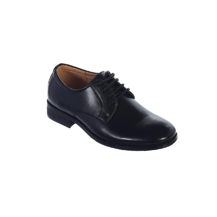 Angels Garment Boys Black Lace Up Closure Classic Dress Shoes 11-4 Kids
