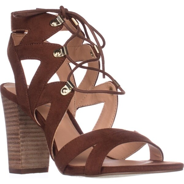XOXO Barnie Heeled Lace Up Sandals, Tan