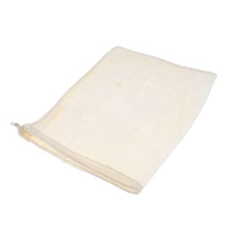 Unique Bargains Reusable Cotton Fabric Nut Milk Sprouting Juice Soup Food Filter Bag 17cmx21cm