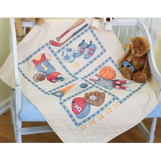 "Baby Hugs Little Sports Quilt Stamped Cross Stitch Kit-34""X43""
