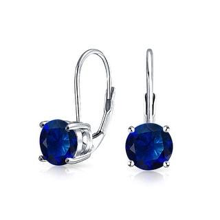 Bling Jewelry 925 Silver Imitation Sapphire Glass Leverback Drop Earrings - Blue