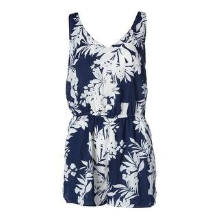 Aqua Womens Floral Print Sleeveless Romper