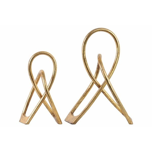 Metal Abstract Knot Tabletop Sculpture, Gold, Set of 2