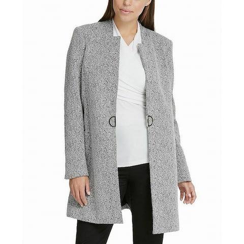 DKNY Women's Jacket Black Size 16 Jacquard Hardware Front Trench Coat