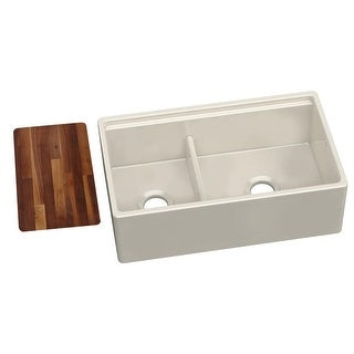 "Elkay SWUF3320  33"" Double Basin Fireclay Farmhouse Kitchen Sink with 60/40 Split and Aqua Divide"